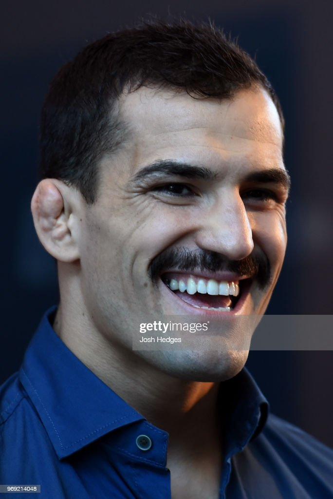 Mirsad Bektic of Bosnia interacts with media during the UFC 225 Ultimate Media Day at the United Center on June 7, 2018 in Chicago, Illinois.