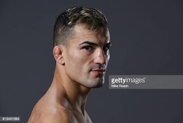 Mirsad Bektic of Bosnia poses for a post fight portrait backstage during the UFC 204 Fight Night at the Manchester Evening News Arena on October 8...