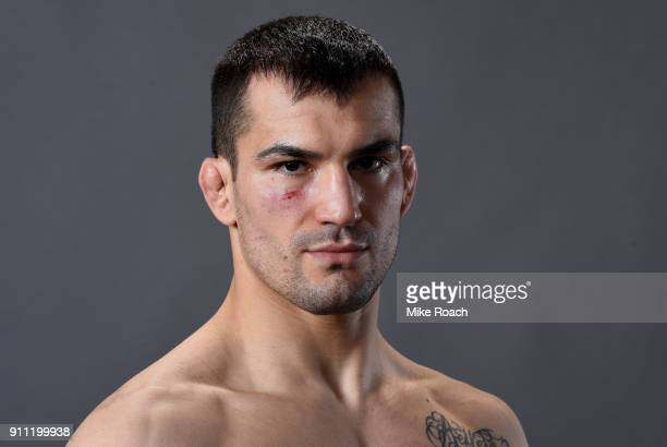 Mirsad Bektic of Bosnia poses for a post fight portraits backstage during a UFC Fight Night event at Spectrum Center on January 27 2018 in Charlotte...