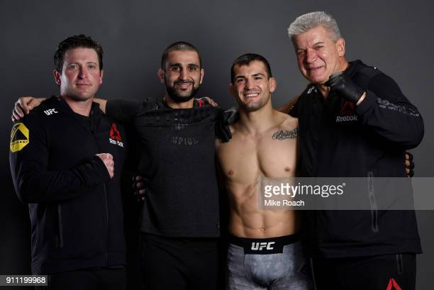 Mirsad Bektic of Bosnia poses for a post fight portraits with his team backstage during a UFC Fight Night event at Spectrum Center on January 27 2018...