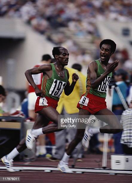 Miruts Yifter of Ethiopia passes compatriot Mohamed Kedir on his way to the gold medal in the Men's 10000 metres at the XXII Olympic Summer Games on...