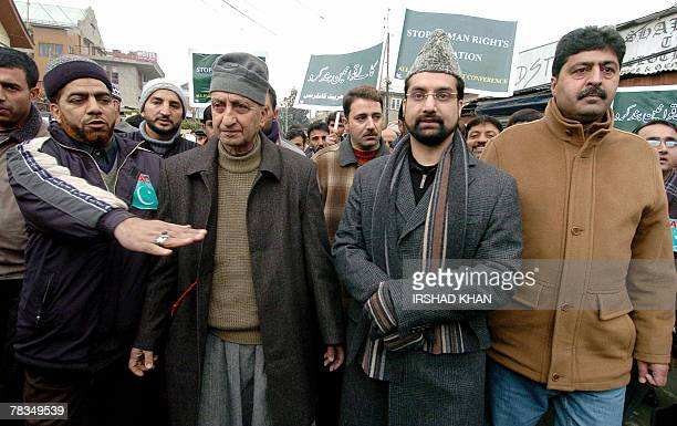 Mirwaiz Umar Farooq Chairman of a moderate faction of Indian administered Kashmir's main seperatist allance the All Parties Hurriyat Conference walks...