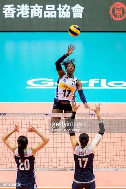 Miryam Fatime Sylla of Italy attacks during the FIVB Volleyball Nations League Hong Kong match between China and Italy on May 31 2018 in Hong Kong...