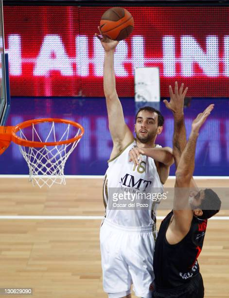 Mirza Begic #16 of Real Madrid in action during the 20112012 Turkish Airlines Euroleague Regular Season Game Day 2 between Real Madrid v EA7 Emporio...