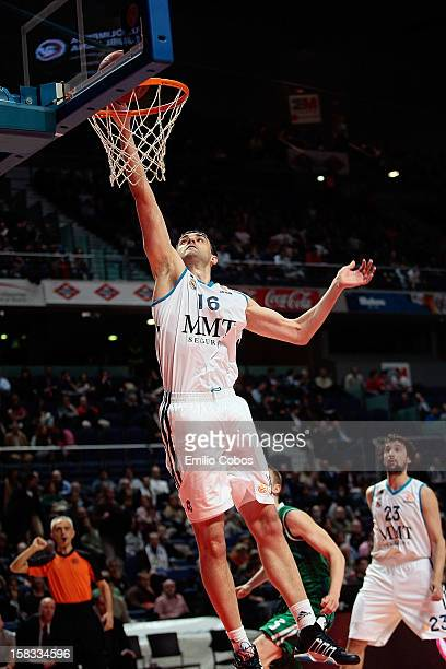 Mirza Begic, #16 of Real Madrid in action during the 2012-2013 Turkish Airlines Euroleague Regular Season Game Day 10 between Real Madrid v Union...