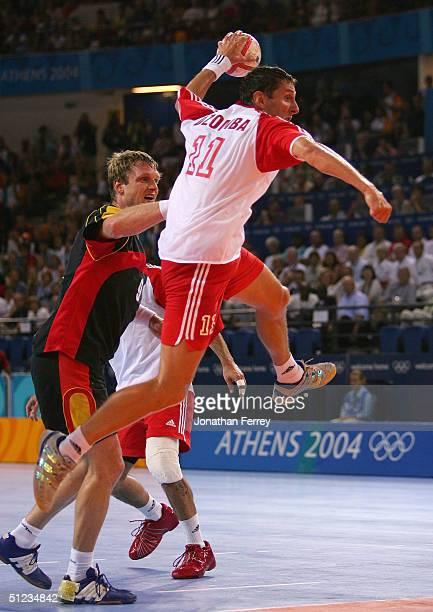 Mirza Dzomba of Croatia shoots at goal in the men's handball gold medal match played between Germany and Croatia on August 29 2004 during the Athens...