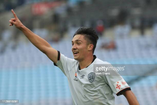 Mirza Muratovic of the Roar celebrates a goal during the National Youth League match between the Western Sydney Wanderers and the Brisbane Roar at...
