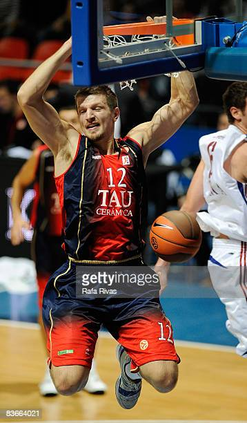 Mirza Teletovic #12 of TAU Ceramica in action during the Euroleague Basketball Game 4 match between Tau Ceramica and Lottomatica Roma at the Fernando...