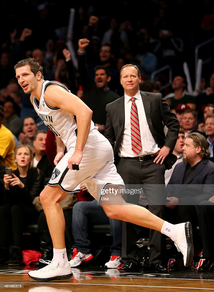 Mirza Teletovic #33 of the Brooklyn Nets celebrates his three point basket in the fourth quarter against the Atlanta Hawks at the Barclays Center on January 6, 2014 in the Brooklyn borough of New York City.The Brooklyn Nets defeated the Atlanta Hawks 91-86.