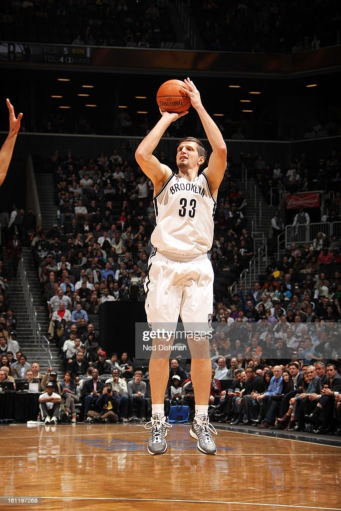 Mirza Teletovic #33 of the Brooklyn Nets shoots the ball against the Toronto Raptors at the Barclays Center on January 15, 2013 in the Brooklyn borough of New York City in New York City.