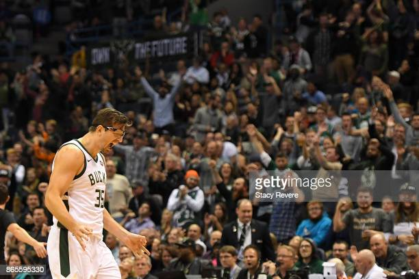 Mirza Teletovic of the Milwaukee Bucks reacts to a three point shot against the Charlotte Hornets during the second half of a game at the BMO Harris...