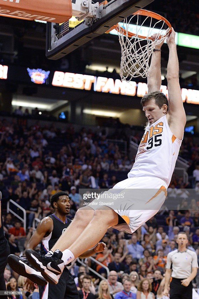 Mirza Teletovic #35 of the Phoenix Suns dunks the ball in the second half of the NBA game against the Los Angeles Clippers at Talking Stick Resort Arena on April 13, 2016 in Phoenix, Arizona. The Suns defeated the Clippers 114 - 105.