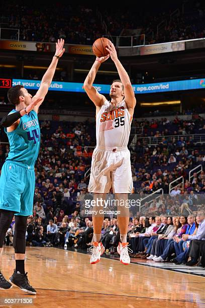 Mirza Teletovic of the Phoenix Suns shoots the ball against the Charlotte Hornets on January 6 2016 at US Airways Center in Phoenix Arizona NOTE TO...