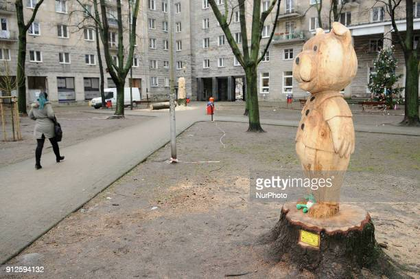 Mis Uszatek a beloved Polish cartoon character sculpted from a cut tree is seen in Warsaws Plac Basniowy Fairy Tail Park on January 29 2018 The works...
