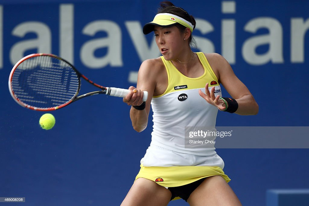 Misa Eguchi of Japan in action during day two of the BMW Malaysian Open at the Royal Selangor Golf Club Tennis Court on March 3, 2015 in Kuala Lumpur, Malaysia.