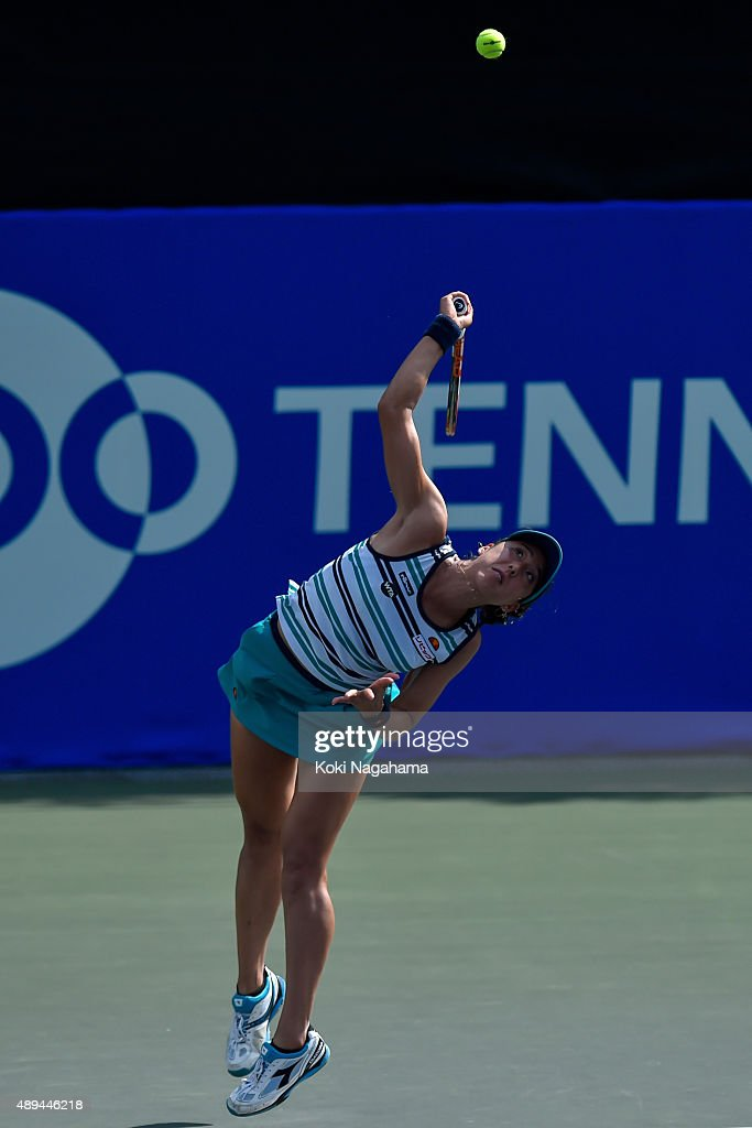Misa Eguchi of Japan in action during her women's singles match against Olga Savchuk of Ukraine during day one of the Toray Pan Pacific Open at Ariake Colosseum on September 21, 2015 in Tokyo, Japan.