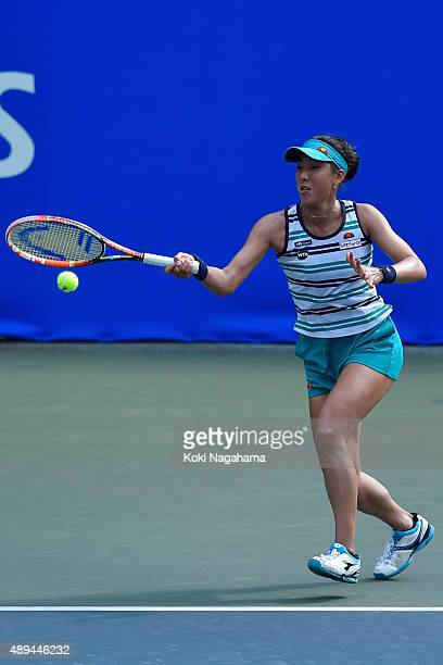 Misa Eguchi of Japan in action during her women's singles match against Olga Savchuk of Ukraine during day one of the Toray Pan Pacific Open at...