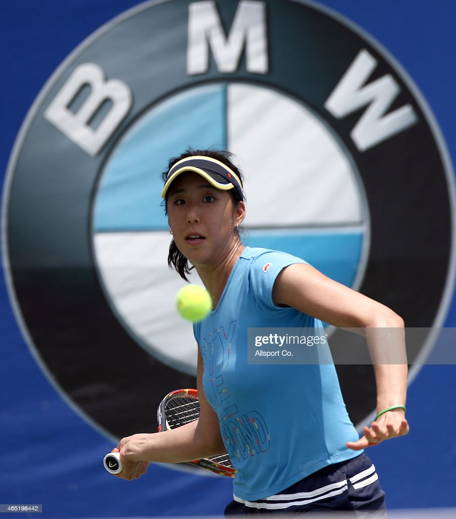 Misa Eguchi of Japan in action during official practice during day three of the BMW Malaysian Open at the Royal Selangor Golf Club Tennis Court on March 4, 2015 in Kuala Lumpur, Malaysia.