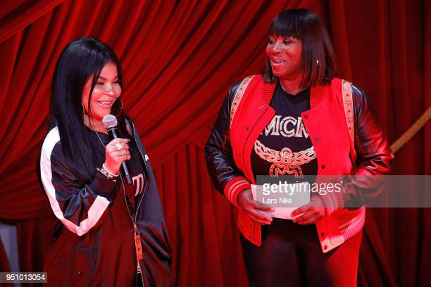 Misa Hylton and Bevy Smith on stage during the 2018 Tribeca Studios and MCM Sneak Preview Of Women's Hip Hop At Public Hotel on April 24 2018 in New...