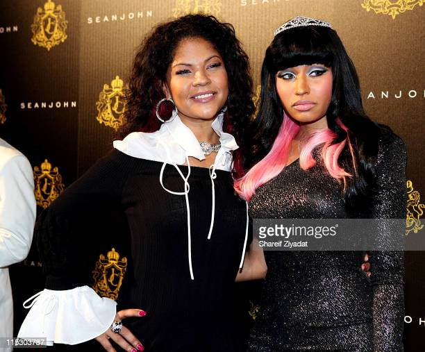 Misa Hylton and Nicki Minaj attend Justin Dior Comb's 16th birthday party at M2 Ultra Lounge on January 23 2010 in New York City