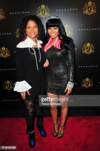 Misa HyltonBrim and Nicki Minaj attend JUSTIN DIOR COMBS celebrates Sweet Sixteenth Birthday at M2 Ultra Lounge on January 23 2010 in New York City