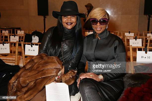 Misa HyltonBrim and singer Mary J Blige attend the Zac Posen fashion show at Vanderbilt Hall at Grand Central Terminal on February 16 2015 in New...