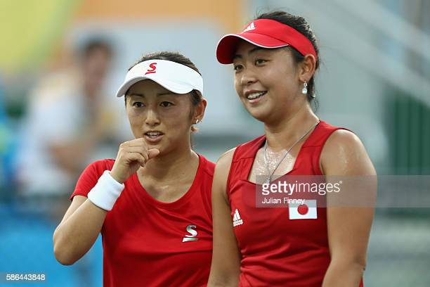 Misaki Doi and Eri Hozumi of Japan in their doubles match against Caroline Garcia and Kristina Mladenovic of France on Day 1 of the Rio 2016 Olympic...