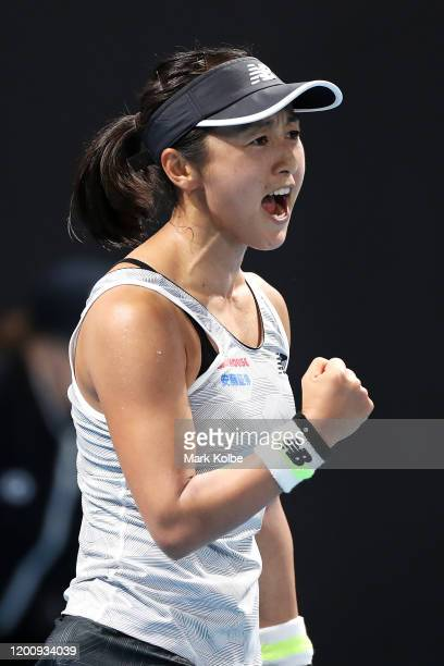 Misaki Doi of Japan celebrates a point during her Women's Singles first round match against Harriet Dart of Great Britain on day two of the 2020...