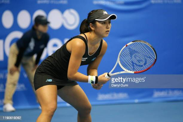 Misaki Doi of Japan gets set to receive a serve during the semi-final match of the Hawaii Tennis Open against Angelique Kerber of Germany at the Stan...