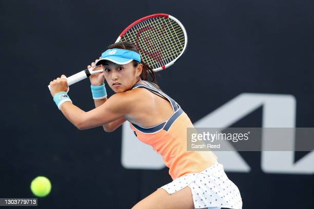 Misaki Doi of Japan in action against Belinda Bencic of Switzerland during day three of the Adelaide International WTA 500 at Memorial Drive on...