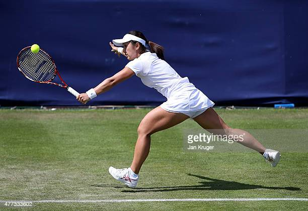 Misaki Doi of Japan in action against Monica Puig of Peru on day two of the Aegon Classic at Edgbaston Priory Club on June 16 2015 in Birmingham...