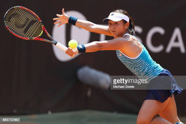 Misaki Doi of Japan in action during her first round match against Catherine Bellis of USA on Day Three of The Internazionali BNL d'Italia 2017 at...