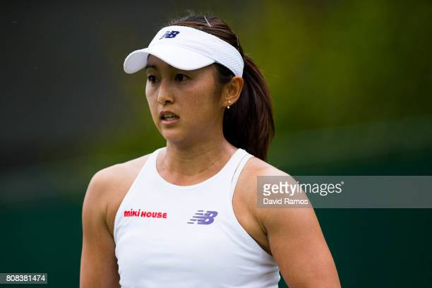 Misaki Doi of Japan looks during her Ladies Singles first round match against Kristen Flipkins of Belgium on day two of the Wimbledon Lawn Tennis...