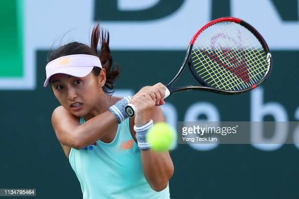 Misaki Doi of Japan plays a backhand against Karolina Pliskova of the Czech Republic during their women's singles second round match on Day 6 of the...