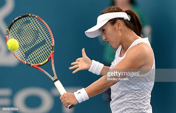 Misaki Doi of Japan plays a backhand against Roberta Vinci of Italy on day four of the 2017 Brisbane International at Pat Rafter Arena on January 4...