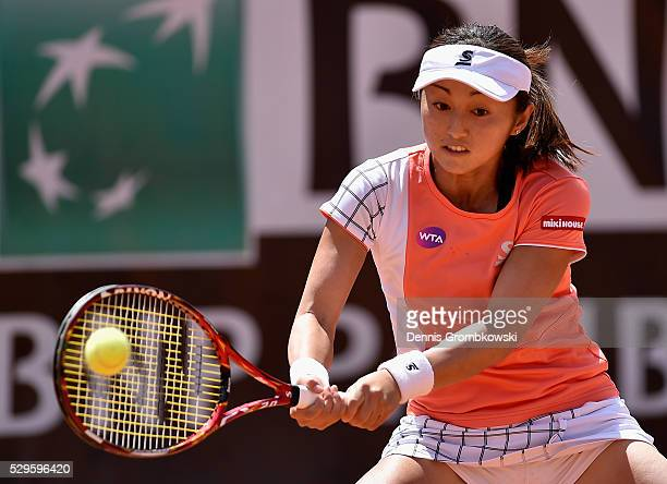 Misaki Doi of Japan plays a backhand in her match against Alize Cornet of France on Day Two of The Internazionali BNL d'Italia 2016 on May 09 2016 in...