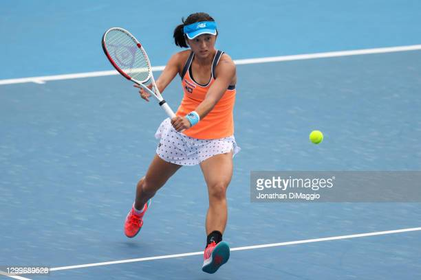 Misaki Doi of Japan plays a backhand in her singles match against Anastasia Pavlyuchenkova of Russia during day two of the WTA 500 Yarra Valley...