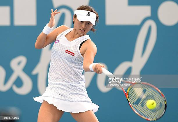 Misaki Doi of Japan plays a forehand against Roberta Vinci of Italy on day four of the 2017 Brisbane International at Pat Rafter Arena on January 4...