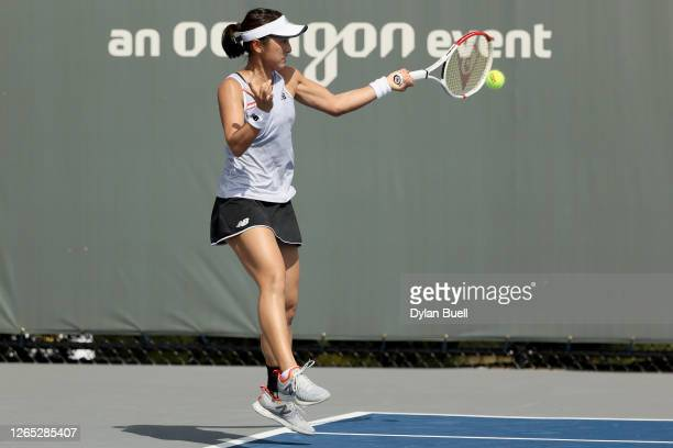 Misaki Doi of Japan plays a forehand during her match against Shelby Rogers during Top Seed Open - Day 2 at the Top Seed Tennis Club on August 11,...