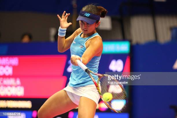 Misaki Doi of Japan plays a forehand during her singles first round match against Camila Giorgi of Italy on day one of the Toray Pan Pacific Open at...