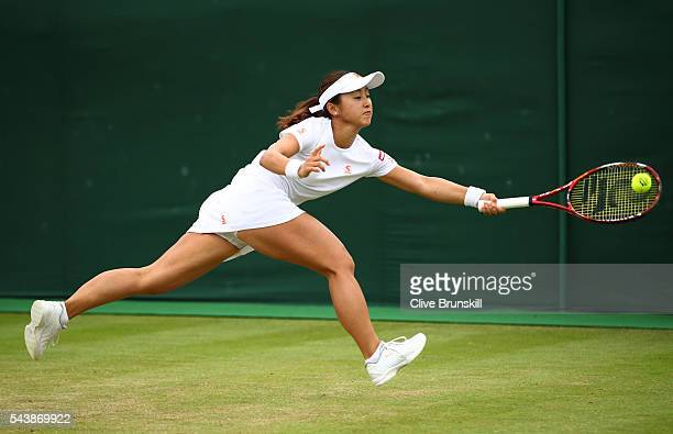 Misaki Doi of Japan plays a forehand during the Ladies Singles second round match against Kristyna Pliskova of Czech Republic on day four of the...