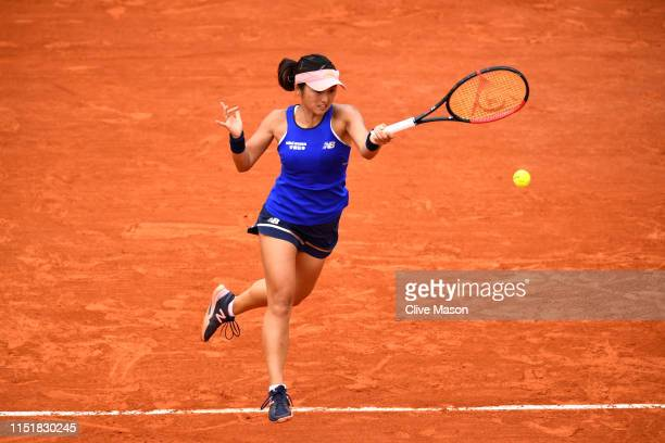 Misaki Doi of Japan plays a forehand in her ladies singles first round match against Sloane Stephens of The United States during Day one of the 2019...