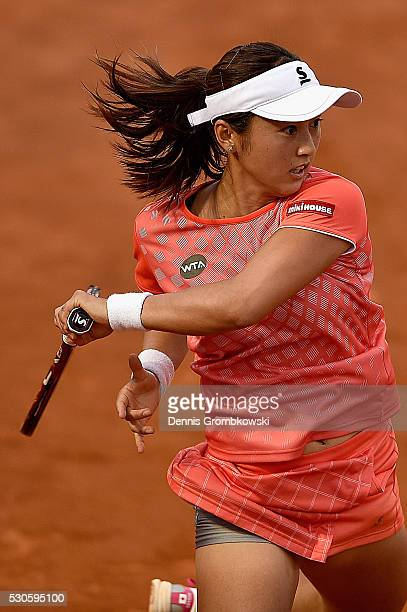 Misaki Doi of Japan plays a forehand in her match against Lucie Safarova of Czech Republic on Day Four of The Internazionali BNL d'Italia on May 11...