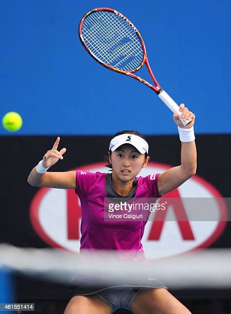Misaki Doi of Japan plays a forehand in her qualifying match against Mathilde Johansson of France for 2015 Australian Open at Melbourne Park on...