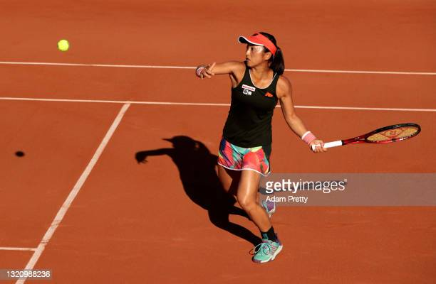 Misaki Doi of Japan plays a forehand in their ladies singles first round match against Daria Kasatkina of Russia on day two of the 2021 French Open...