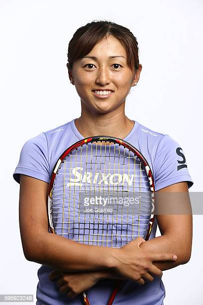 Misaki Doi of Japan poses for a WTA Portrait at Arthur Ashe Stadium on August 26 2016 in New York City