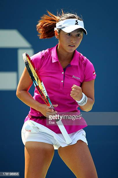 Misaki Doi of Japan reacts after a point against Petra Kvitova of the Czech Republic during their first round women's singles match on Day Two of the...