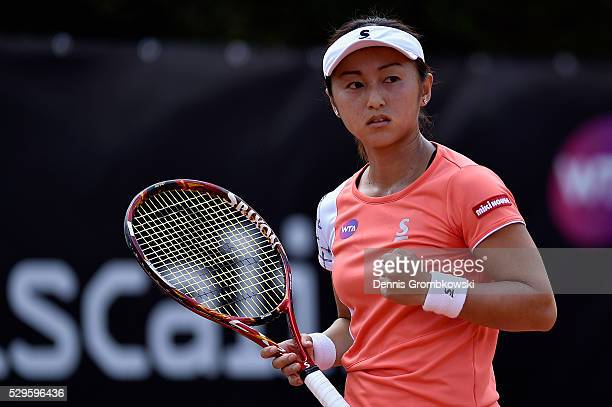 Misaki Doi of Japan reacts during her match against Alize Cornet of France on Day Two of The Internazionali BNL d'Italia 2016 on May 09 2016 in Rome...