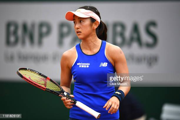 Misaki Doi of Japan reacts in her ladies singles first round match against Sloane Stephens of The United States during Day one of the 2019 French...