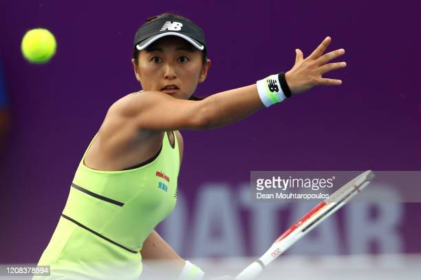 Misaki Doi of Japan returns a forehand against Tereza Martincova of Czech Republic during Day 2 of the WTA Qatar Total Open 2020 at Khalifa...